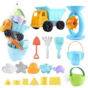 Balnore Kids Beach Toys,20 Pieces Sand Toys Set in Reusable Mesh Bag with Pail Car Animals Castle and Other Tools Kit Matching