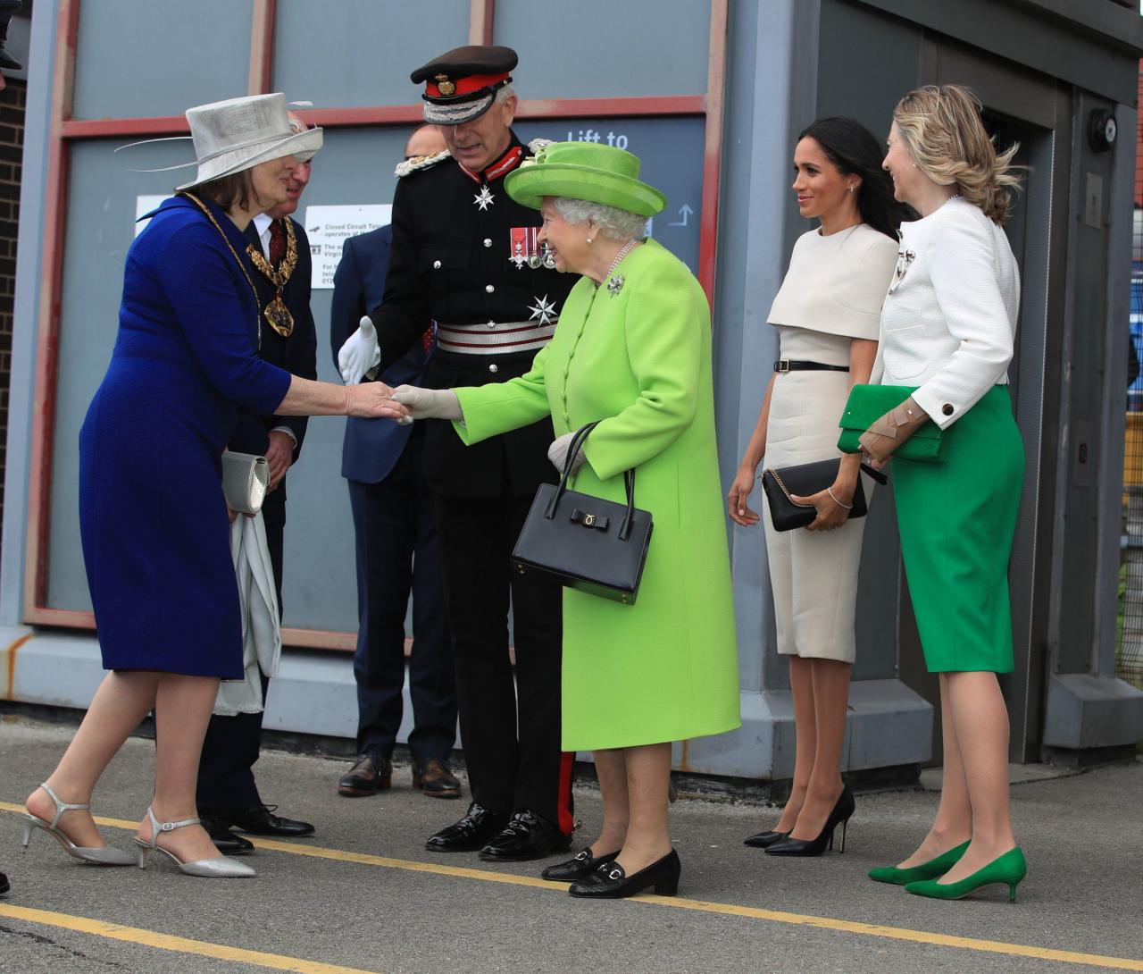 Queen Elizabeth II and the Duchess of Sussex arrive by Royal Train at Runcorn Station to carry out engagements in Cheshire. PRESS ASSOCIATION Photo. Picture date: Thursday June 14, 2018. See PA story ROYAL Queen. Photo credit should read: Peter Byrne/PA Wire